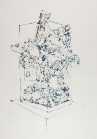 Vitrine Assemblage, ink on paper