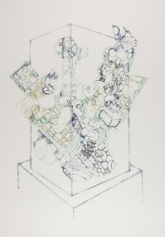 Vitrine Phoenix, ink on paper