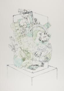Vitrine Pile, ink on paper