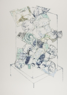 Vitrine Stack, ink on paper
