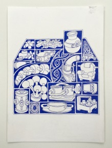 Shaped Narrative House 2017 30x30 Gary Clough Ink on Paper.